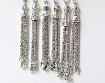 6 pcs Antique Silver Metal Tassel Charm Pendants Mixed Style A8768