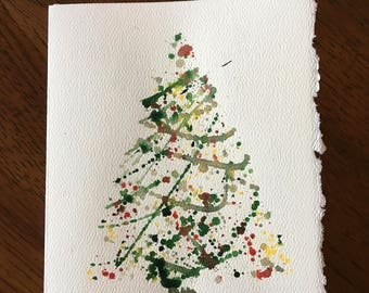 Original Watercolor Christmas Card Set of 5 Christmas Tree Paintings Christmas Decor Thank You Card Christmas Card Christmas Decoration