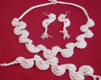 Angel wings jewelry set, prom, wedding, bridal.macrame.