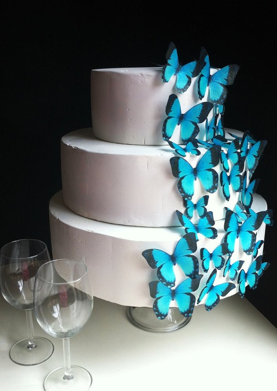 Wedding Cake Topper Edible Butterflies - Assorted Turqiouse set of 30 - Cake & Cupcake Toppers - Wedding Decoration