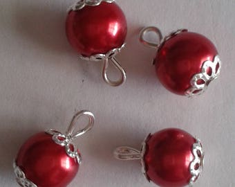 5 pendants 8mm red glass pearl beads