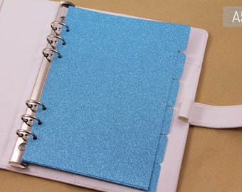 Luxury planner accessories, 6 dividers light blue glitter, A5 planner kit dividers, ring binder planner