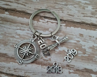 2017, 2018, 2019 Graduation Keychain, Graduation Gift, Graduation Diploma, Compass, 2017, 2018 or 2019 Charms Graduation Keychain