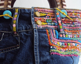 SALE Ultimate Purse Embroidered Beaded Denim Handcarved Shell Inlay Handles