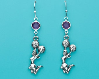 Cheerleader Earrings, Amethyst Crystal Earrings, Cheerleading Earrings, Pom Poms, Sport Charm, Dangle Earrings, Gifts for Her, 70
