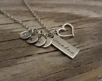 Grandma Necklace - Hand Stamped Necklace - Initial Necklace - Grandmother Necklace - Necklace - Grandma Gift - Grandma Christmas Gift