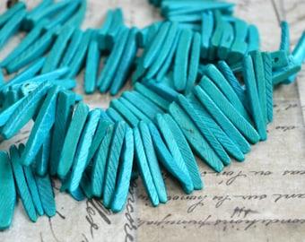Aqua Blue Sticks Wood Beads Top-Drilled Stick 25x4mm 16 Inches Coconut Palm