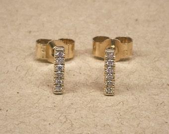 Gold Diamond Studs, White Diamond earrings, Tiny Diamond Studs, Tiny Gold Studs, Yellow Gold, Handmade, Diamond Bar, Diamond Earings, Gold
