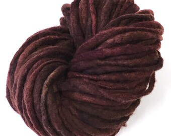 Felted yarn, hand spun and hand dyed in merino wool - 43 yards, 3.75 ounces/107 grams