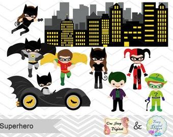 Instant Download Superhero Digital Clip Art, Superhero Clipart, Superhero Boys Clipart, Superhero Girls Clip Art, Super Hero Clilpart, 0200