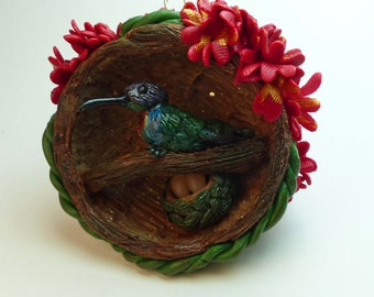 Polymer Clay Fiery-throated Hummingbird Mini Cave Ornament