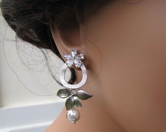 Unique bridal dangle earrings in silver orchid flower pearl on sterling silver ear post