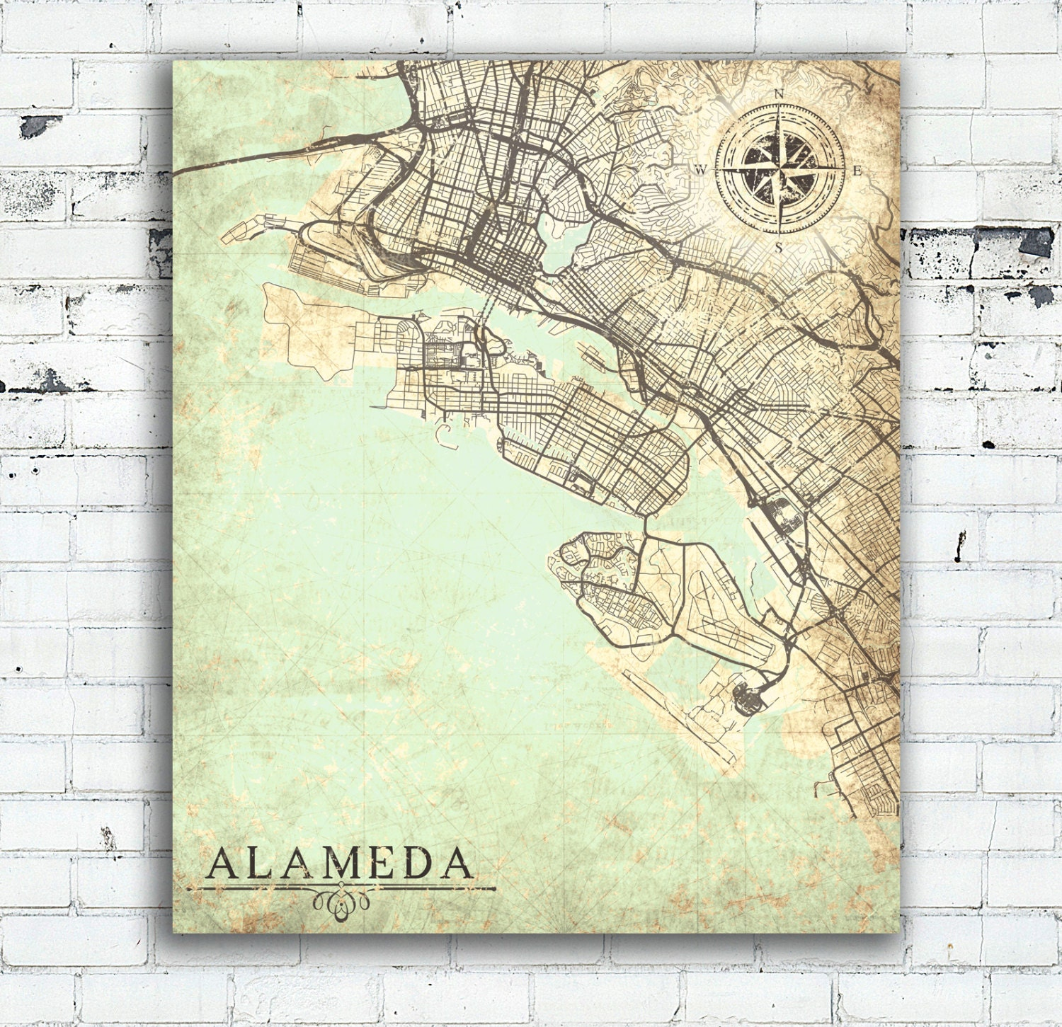 ALAMEDA CA Canvas Print California CA Vintage map Alameda City