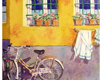 Bicycle Art, Bike Art Print, Road Trip, Print Sale, Bicycle, Wall Art, Travel, Wall Art Decor, Watercolor, Painting, Aquarelle, LaBerge