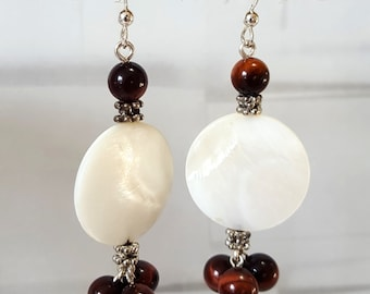 Mother of Pearl and Red Tiger's Eye Earrings