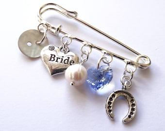 Something Old Something New Something Borrowed Something Blue Wedding Bridal Gift for Bride LuckyCharm Keepsake Pin/Brooch Swarovski Element