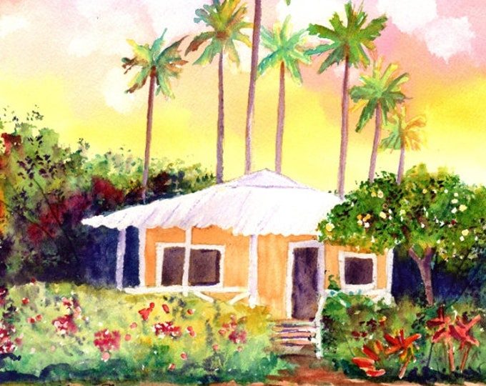 Kauai Orange Cottage Original Watercolor Painting from Hawaii Hawaiian Marionette Taboniar plantation house whimsical tropical art sunsets
