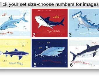 Shark Wall Art for Shark Decor, Shark Bedding, Shark Wall Decor, Shark Art Prints, Choose your set size shark art prints, Unframed, Nautical