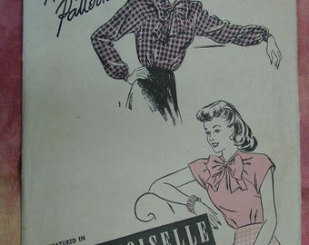 Vintage Pattern c.1940's Advance No.3903 Blouse Size 20 Featured in Mademoiselle