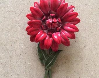Retro Vintage Hot Pink Flower with Green Stem and Leaf