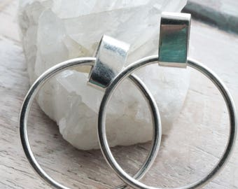 Retro hoop Earrings, Sterling Silver Hoop Earrings, Stud hoop Earrings, 90s Style Jewelry, 90s Earrings, Stylish Earrings, Trendy Earrings