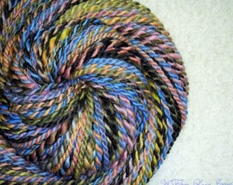 Midnight Lullabies - Handspun - Art Yarn - 72 yards - Bulky - 2ply - Knitting - Crochet - Weaving - Fiber Arts - Textile Arts