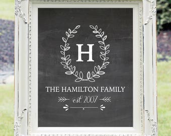 Custom Last Name, 16x20 Chalkboard Monogram, Wall Art, Wedding Sign, Farmhouse Decor, (JPEG Digital/Printable File) -  You Print - You Frame