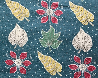 Vintage Barkcloth Fabric  - 50s Botanic Leaves Leaf, Remnant, Retro Fabric, Vintage Fabric, 1950s