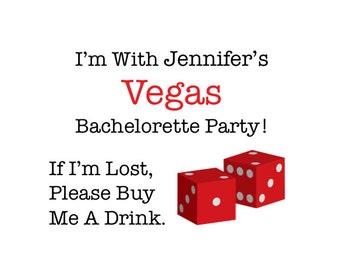 5 Bachelorette Tattoos - Vegas Bachelorette Party Temporary Tattoos - Custom - Choose Your Landmark & Design