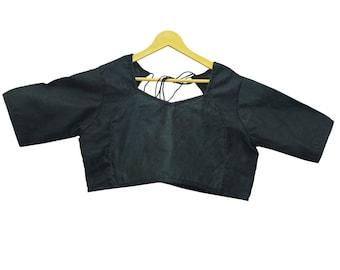 Black Brocade Silk Readymade Blouse