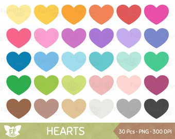 Heart Clipart, Hearts Clip Art, Valentine's Day Love Graphic Cute Rainbow Cliparts Element Icon PNG Digital Download, Commercial Use