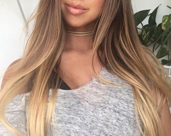 Tan Double Wrap Suede-Leather Choker