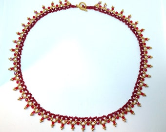 Sunrise Beaded Necklace, Red and Gold Necklace, Formal Necklace