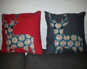Deer Christmas embroidered wax duo