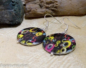 Colorful Print Mother Of Pearl Shell Silver Dangle Earrings