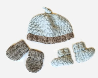 Easy Knitting Pattern: baby hat, booties & mittens / Beginner baby knitting pattern / Layette gift / Baby knitting pattern download pdf