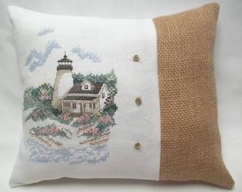 Lighthouse Cross Stitch Pillow Nautical Summer Beach  Shore Decor