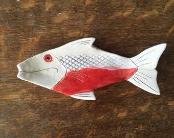SPOON REST Coral FISH Stoneware Handmade