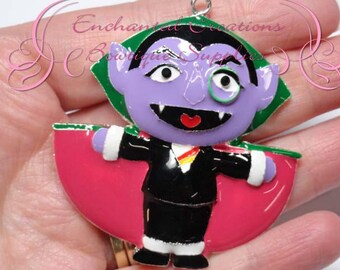 "2"" Count Dracula Inspired Charm, Sesame Street Inspired, Chunky Pendant, Keychain, Bookmark, Zipper Pull, Chunky Jewelry, Purse Charm"