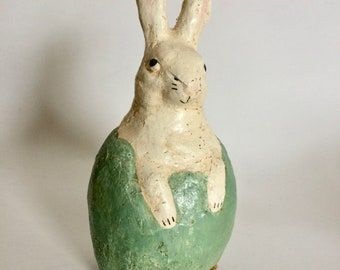 Teena Flanner Primitive Bunny Rabbit in Egg Papier Mache Rustic Folk Art Hand Painted Display Easter Spring