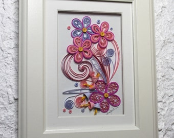 Decorative frame/pink bouquet/quilled pink flowers/shades of pink/paper quilling/home décor/wall decoration