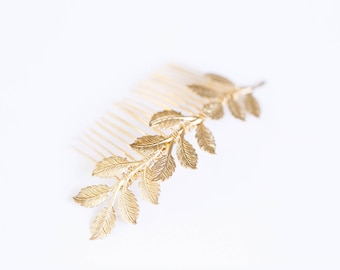 Large Leaves Comb -  Bridal, Special Occasion Boho Comb, hair accessory, crown, clip, barrette, grecian, under 30, bridesmaid gift, gold