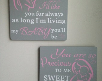Set of Two Baby Girl Nursery Signs/You are so Precious/I'll Love You Forever/Girl Nursery Decor/Baby Room Decor/Pink Gray Nursery/Baby Gift