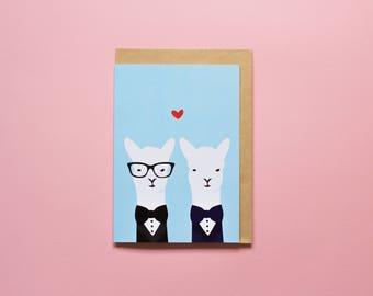 Gay Wedding Llamas - Greeting card
