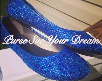 Custom Swarovski Crystal Rhinestone Ballet Flats - Something Blue - Wedding Ballet Flats Bridal Shoes - Bridal Flat - Royal Blue Ballet Flat