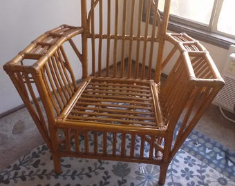 Rattan Chair, RARE, SOLD! Collectible Pole & Pencil, FDR President's Chair! Umber Vintage Boho Jungalow Furniture, Mid Century Lounge Chair