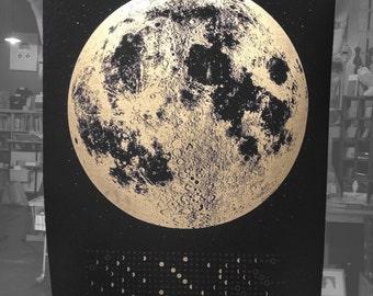2018 Full Moon Calendar Lunar Phases, Wall Moon Art, Gold Moon Print, Lunar Calendar art print, silver moon, space art, copper moon wall art
