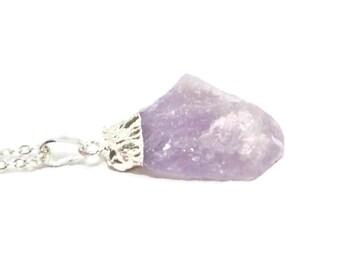 Amethyst Crystal Boho Necklace, Silver Dipped Amethyst Necklace, Raw Amethyst, Chunky Amethyst, Raw Gemstone Necklace, February Birthstone