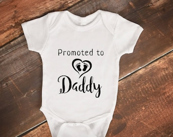 Promoted to Daddy  - Husband - Pregnancy - Announcement - Gerber Baby Onesies - Baby - Reveal - 1st time Dad - Father
