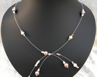 Bridal necklace brown beige and white